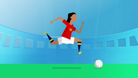 spain female world cup soccer player running with a ball in a stadium. Loopable clip in 4K with alpha channel to use player on different backgrounds