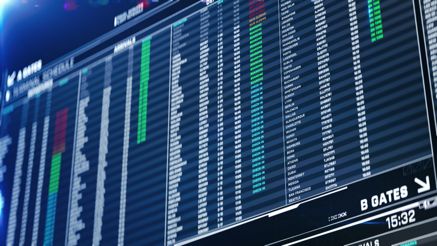 Airport departures on screen, information for travelers updating real time. Destinations, flight status, boarding gates info change on screen animation   Shutterstock HD Video #1031763890