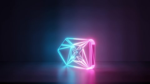 3d rendering glowing blue purple neon laser light with wireframe symbol of backspace button woth cross in empty space corner seamless fade animation