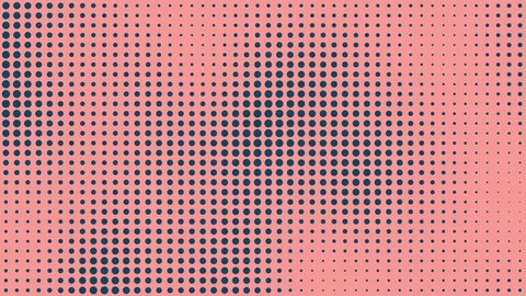 Seamless - Halftone dots motion background, Dot cartoonist background, Halftone comic dot animation. Wave pattern. Retro and Vintage Pattern animation.