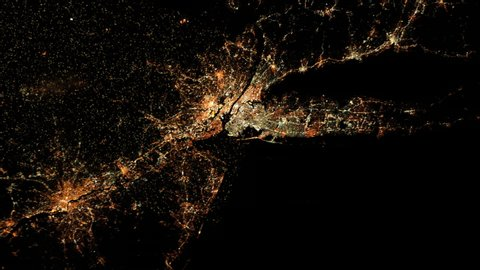 New York satellite view by night with flashing lights animation. Contains public domain image by Nasa