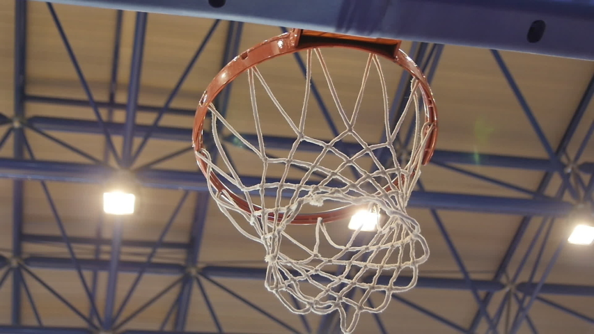 White net Basketball Ring Sways After Hitting the Ball  #1031921660