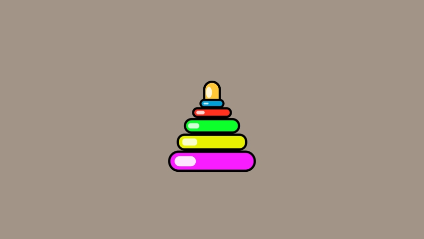 Childhood toys icons animation. Children's pyramid. Educational toy for small children. 2D animation.   Shutterstock HD Video #1031973080