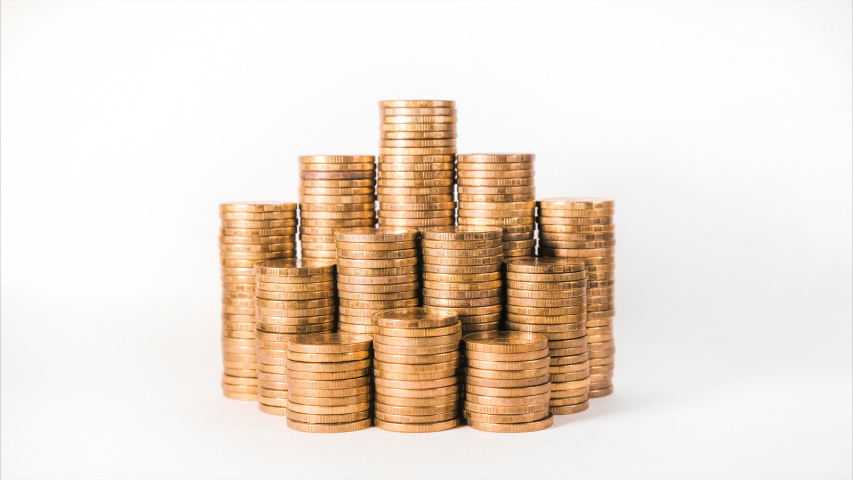 Disappearing coins lots symbolise company income decrease   Shutterstock HD Video #1032121610
