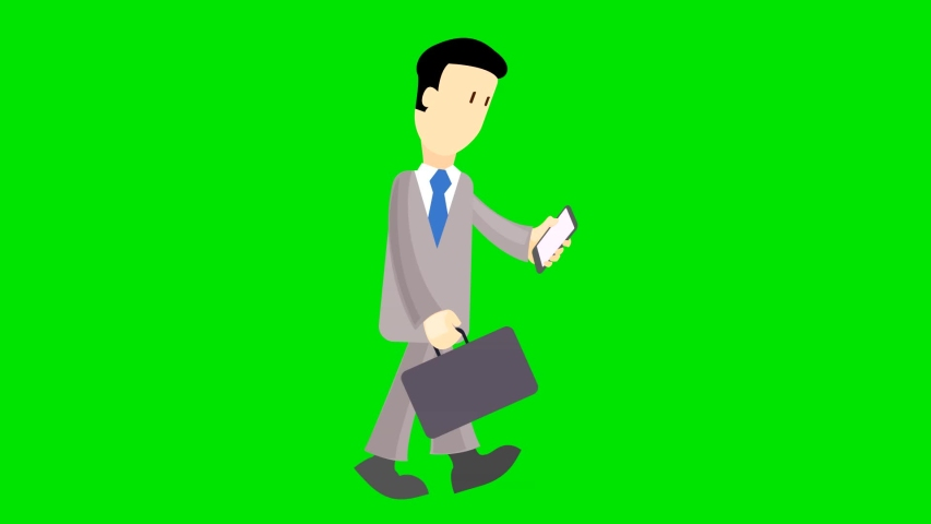 The man goes with the phone.Green background is used.Animated video. | Shutterstock HD Video #1032217520