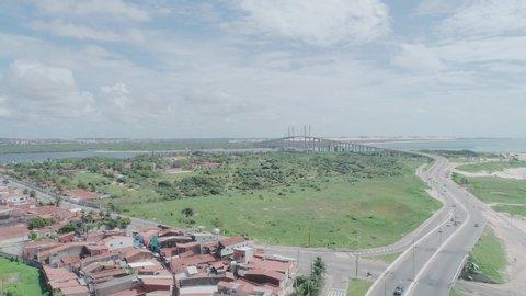 Aerial view of the bridge Newton Navarro of the city of Natal, RN.
