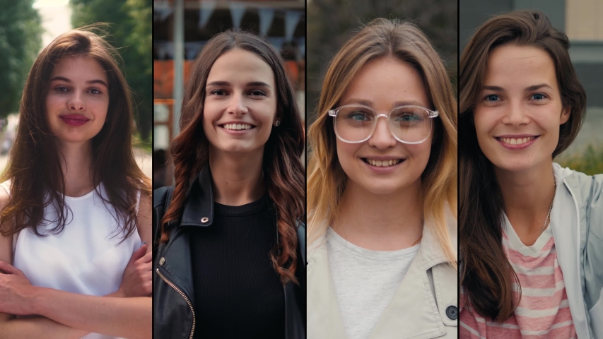Collage portrait of mix raced young professionals or students, happy young international group, female power and woman smiling, happy people | Shutterstock HD Video #1032412010