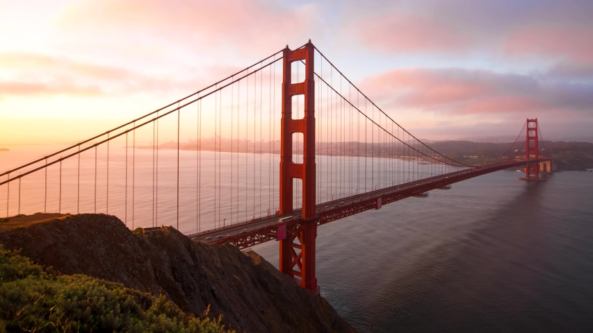 Sunrise time-lapse of the Golden Gate Bridge in San Francisco, CA