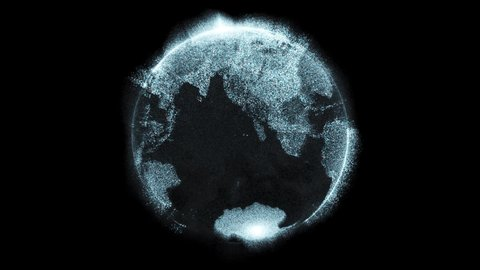 Digital data globe - 3d Earth animation - zoom out