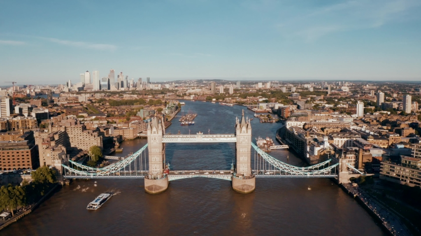 Establishing Aerial View of Tower Bridge, Shard, London Skyline, London, United Kingdom | Shutterstock HD Video #1032556100