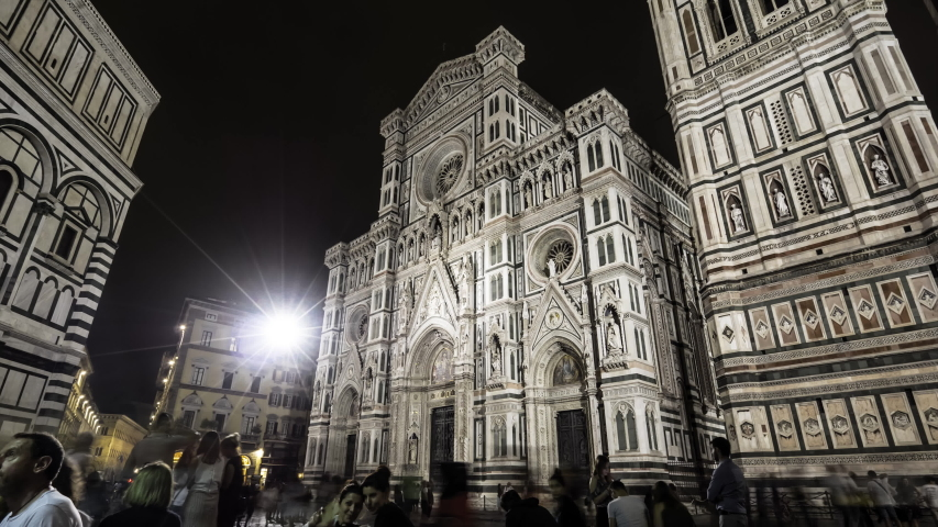 Florence 2019. Time lapse of the Cathedral of Santa Maria del Fiore. We are in the middle of the night and many tourists are taking pictures and having fun. June 2019 in Florence | Shutterstock HD Video #1032719720