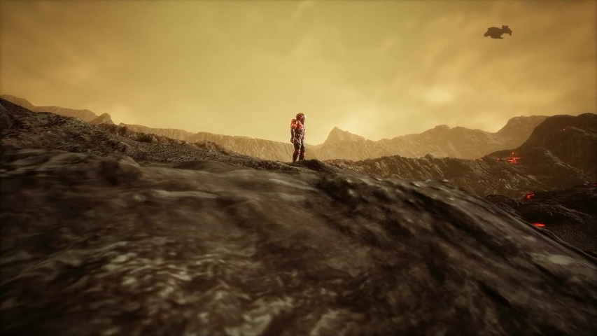 Aliens and Astronauts on a strange planet in space move camera   Shutterstock HD Video #1032761660