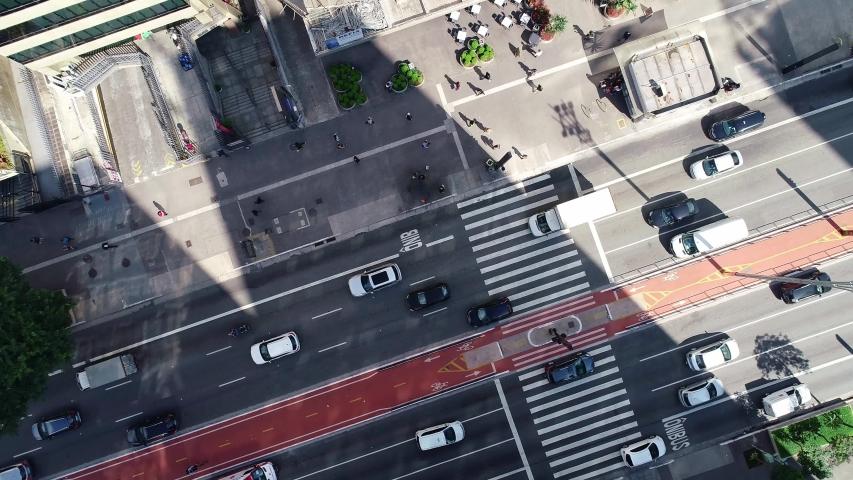 São Paulo, Sao Paulo / Brazil - Circa May 2019: Aerial image made with drone on Avenida Paulista, commercial center of the city of São Paulo. | Shutterstock HD Video #1032799220