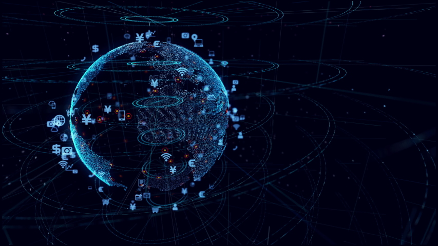 Global communication network concept. Planet earth in cyberspace.  | Shutterstock HD Video #1032800090