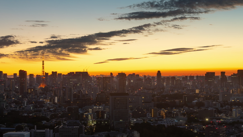 Time Lapse of the densely packs buildings of Tokyo Japan at sunrise | Shutterstock HD Video #1032838220