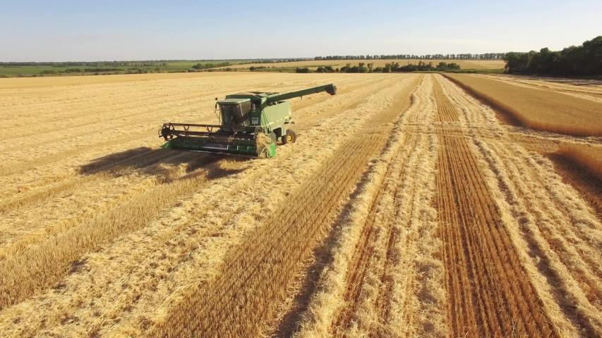 Ukraine, Kharkiv region July 5, 2019. Harvesting wheat. Photo from the drone, a special combine in the field.4k   Shutterstock HD Video #1032840710