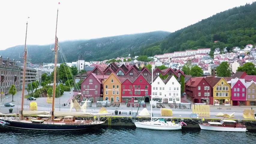 Port in Bergen, Norway Aerial FPV drone flights | Shutterstock HD Video #1032903620