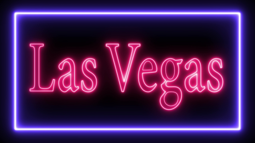 Sign contains: Welcome Casino Las Vegas. Sign in neon style. Popular abstract rectangle with neon spectrum lines. Animation fluorescent ultraviolet light glowing neon lines. Seamless loop. 4K | Shutterstock HD Video #1032969800