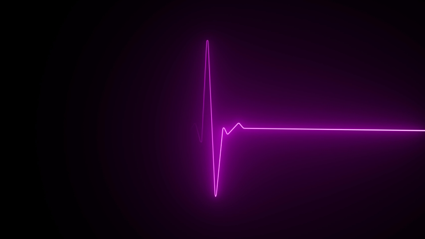 Neon heartbeat on black isolated background. 4k seamless loop animation. Background heartbeat line neon light heart rate display screen medical research | Shutterstock HD Video #1032995900