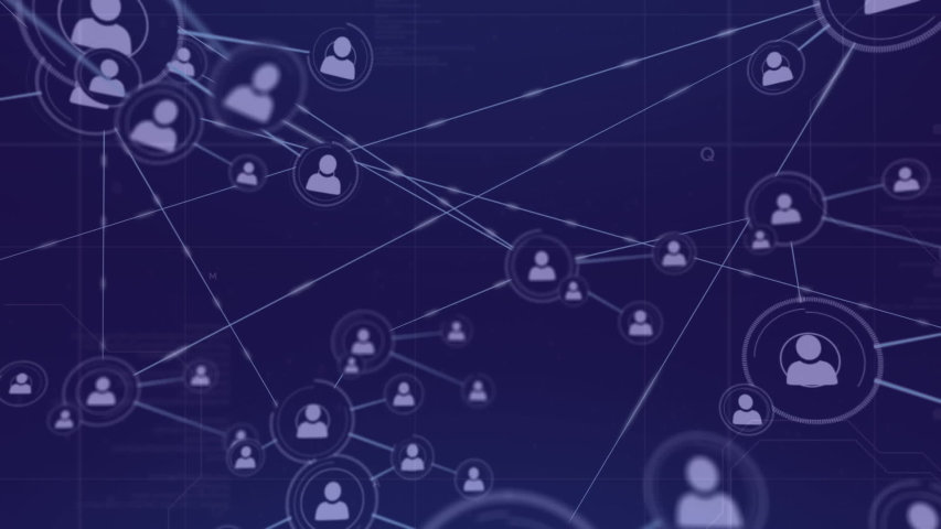 Digital animation of a network of lines connected with profile icons. The screen slowly move backwards revealing more networks | Shutterstock HD Video #1033017290
