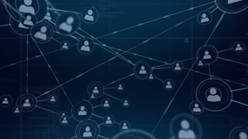 Digital animation of a network of lines connected with profile icons. The screen slowly moves back to reveal more profile icons | Shutterstock HD Video #1033022270