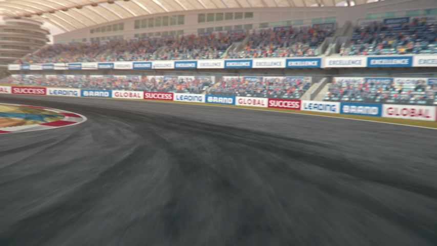 POV shot of a formula one race car driving along the race track - realistic high quality 3d animation