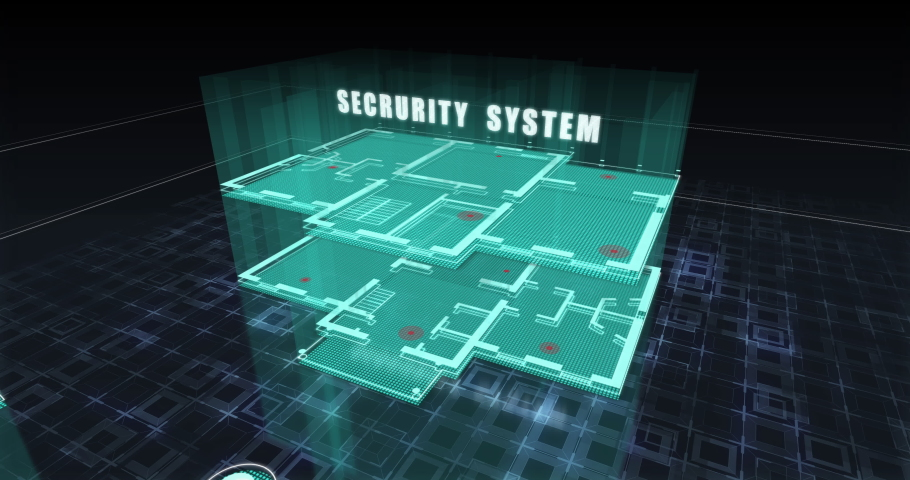 """Futuristic motion holographic 3D building. Text """"Security Systems"""". Animation of digital holographic scene. 3D structure hologram on black background. Technology urban style. 4K DCI (2160p), 25 fps.   Shutterstock HD Video #1033059530"""