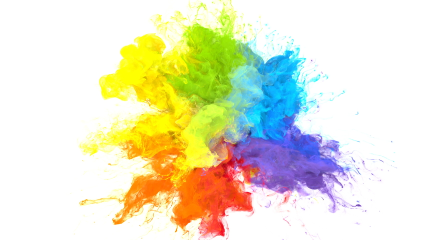 Color Burst iridescent multicolored colorful rainbow smoke powder explosion fluid ink particles slow motion alpha matte isolated on white | Shutterstock HD Video #1033137380