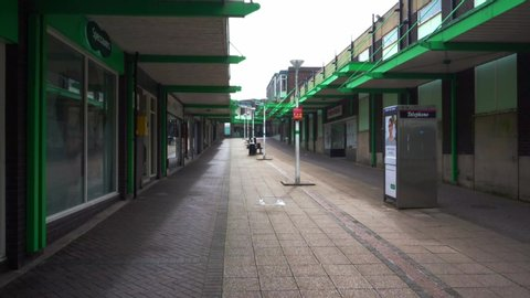Stoke on Trent, Staffordshire / United Kingdom (UK) - 01 07 2019: Abandoned and empty shops, due to high street decline, poverty, high overheads and parking charges