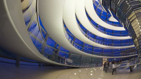 29 June 2014  Inside the Reichstag, Berlin, Germany.  The dome is a tourist attraction atop the meeting place of the German Parliament.