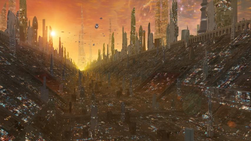 3D Flying Through Massive Future City Sci-Fi Background | Shutterstock HD Video #1033213100