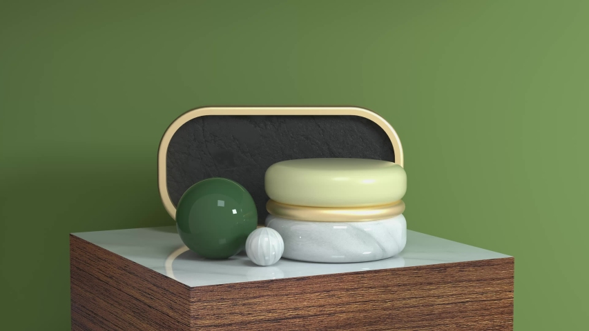 Green scene geometric object wood podium set 3d rendering motion abstarct   Shutterstock HD Video #1033252760