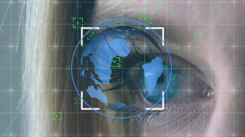Digital animation of a blue globe rotating in the screen with square patterns while background shows a blue eye of a Caucasian woman | Shutterstock HD Video #1033261370