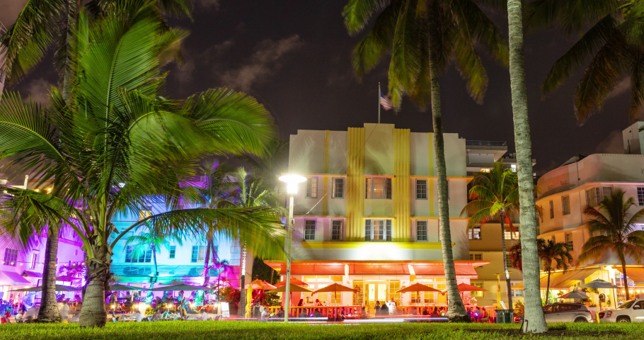 Miami Beach, Florida, USA on Ocean Drive at sunset with famous colorful art deco buildings. timelapse video in 4K. | Shutterstock HD Video #1033310120