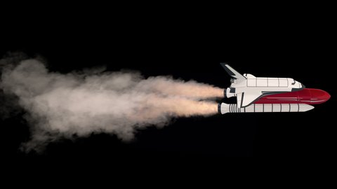 Space shuttle flying into space on black with alpha. Rocket engines blow large clouds of smoke, fire. Isolated flying carrier rocket with key mask. Animated flighting spacecraft spaceshuttle, white re