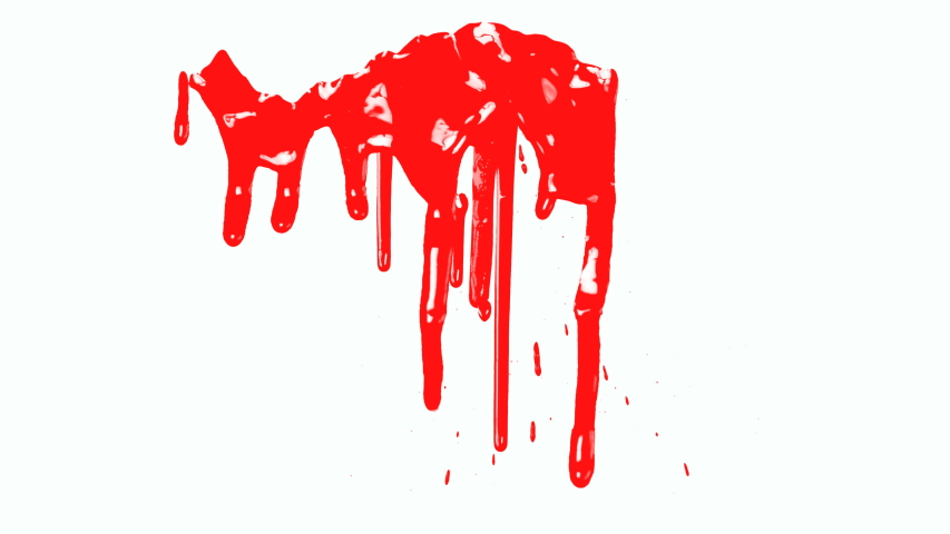 4K Blood dripping down on white background.Red paint dripping down  | Shutterstock HD Video #1033403420