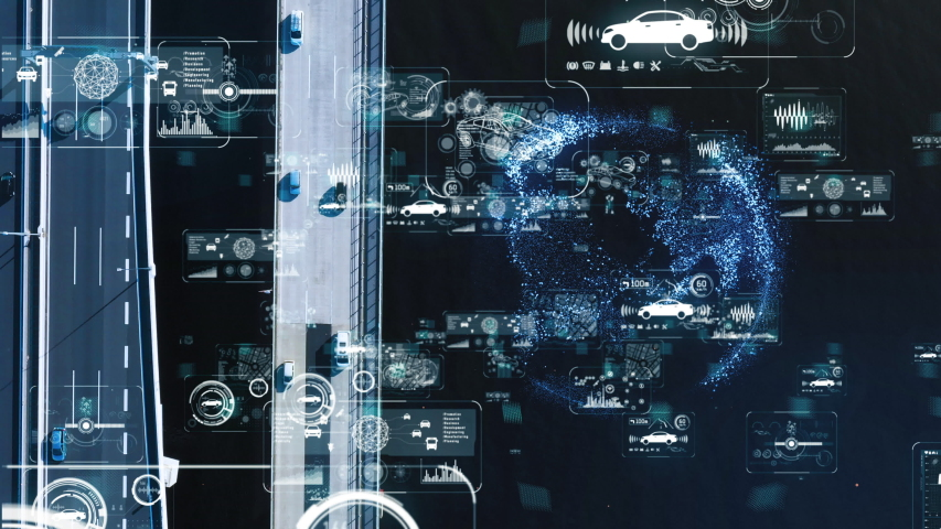 Automotive technology concept. Urban freeway aerial view.   Shutterstock HD Video #1033427930
