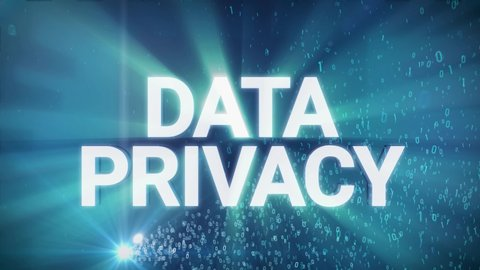 Seamless looping 3d animated digital maze with the word Data Privacy in 4K resolution