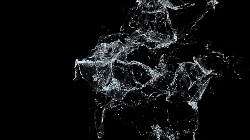 Water splash slow motion on black background and black and white alpha. 3D illustration | Shutterstock HD Video #1033572020