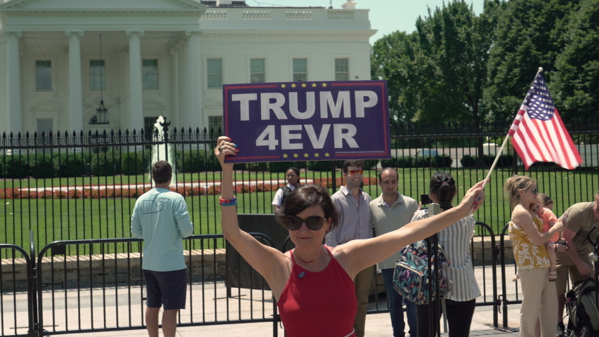 Washington DC, / USA July 3rd 2019.  President Donald Trump supporters have 2020 rally in front of the White House in Washington DC the day before the 4th of July celebration.