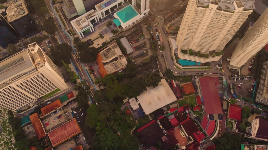 Kuala Lumpur,  panorama of the city center, shooting from air  | Shutterstock HD Video #1033575800