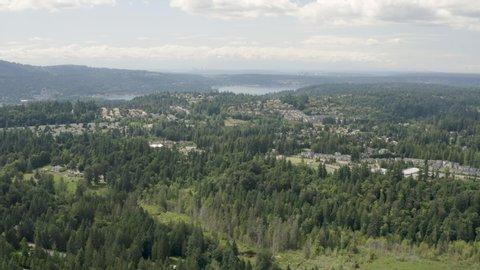 Aerial Landscape Issaquah Washington - View of Lake Sammamish Seattle and Bellevue Skyline