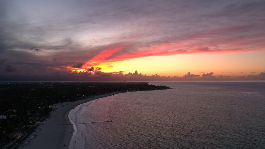 Incredible Tropical Sunset over Ocean, Aerial Drone 4K | Shutterstock HD Video #1033582670