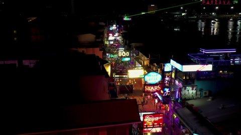Pattaya, Thailand - 15 Jury 2019 - Aerial view Crowd walking through in Pattaya walking street at night.