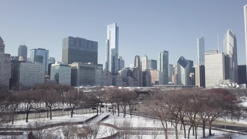 Aerial winter shot from Millenium park in Chicago with Skycrapers - Colored Shot