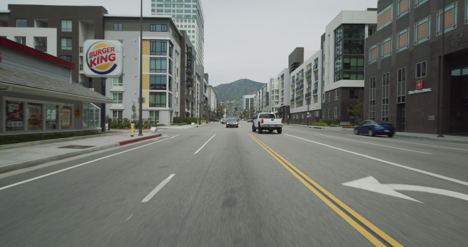 Day Moving process plate master straight back driving along big city street There others cars road Shops, stores businesses line street There some palm trees We stop | Shutterstock HD Video #1033783460