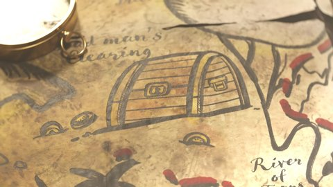 Funny hand-drawn ancient map with animated drawings. Camera is  moving over the map showing sailing pirate ship, flag, palm trees, cannibal dancing near the pot and treasure chest full of gold