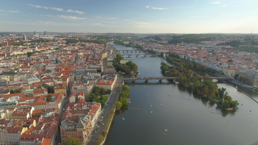 PRAGUE, CZECH REPUBLIC - MAY, 2019: Aerial pamorama drone view of the city centre, cityscape of Prague, flight over the city, Area Old Town. | Shutterstock HD Video #1033931870