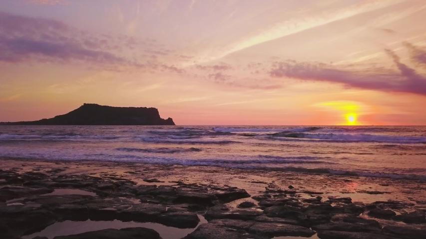 Seascapse in morning sunrise at Jeju island, South Korea. Beautiful seascape in Jeju-do, South Korea. | Shutterstock HD Video #1033958960