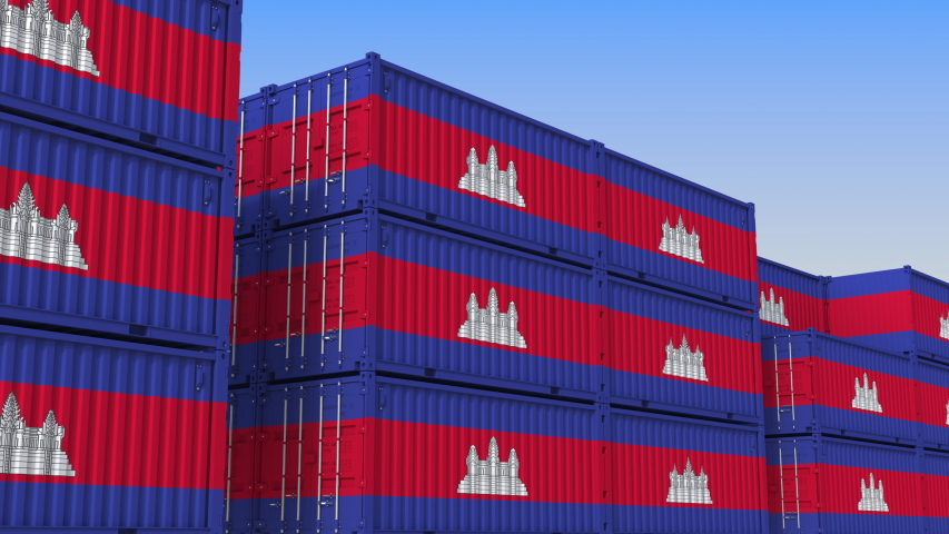 Container yard full of containers with flag of Cambodia. Cambodian export or import related loopable 3D animation | Shutterstock HD Video #1034009480